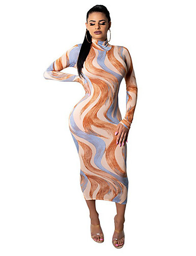 cheap Women's Clothing-Women's Sheath Dress Maxi long Dress Red Yellow Orange Gray Long Sleeve Color Block Spring Summer Chinoiserie 2021 S M L XL XXL