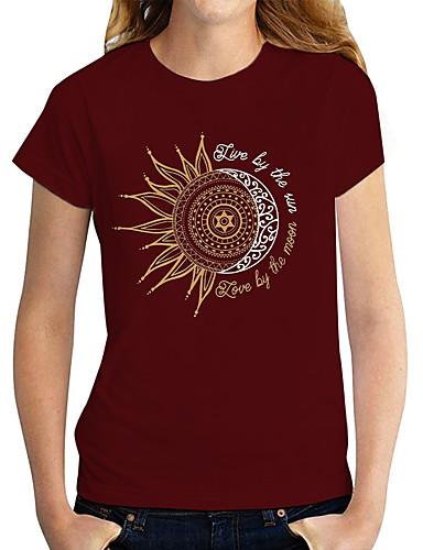 cheap Women's Clothing-Women's T shirt Graphic Print Round Neck Tops Basic Basic Top Black Red