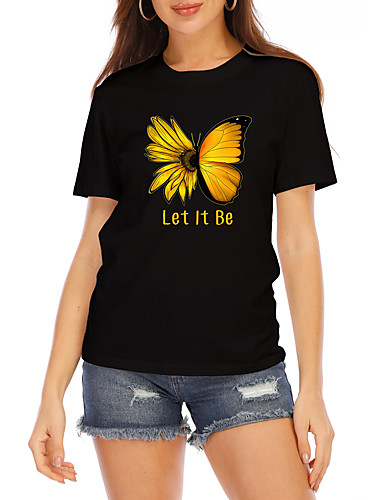 cheap Women's Clothing-Women's T shirt Graphic Butterfly Text Print Round Neck Tops 100% Cotton Basic Basic Top White Black