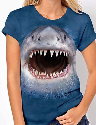 cheap Women's Clothing-Women's T shirt Graphic 3D Print Round Neck Tops Basic Beach Basic Top Blue