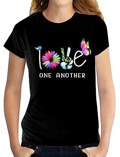 cheap Women's Clothing-Women's T shirt Graphic Text Flower Print Round Neck Tops 100% Cotton Basic Basic Top White Black