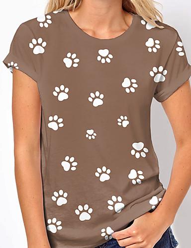 cheap Women's Clothing-Women's T shirt Dog Graphic Print Round Neck Tops Basic Basic Top White Navy Blue Khaki