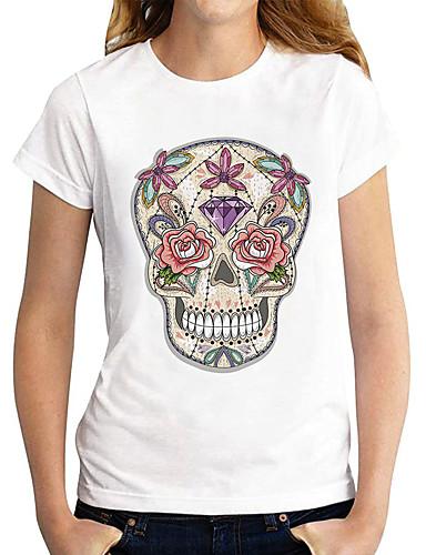 cheap Women's Clothing-Women's T shirt Graphic Skull Print Round Neck Tops Basic Basic Top White