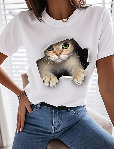 billige Dameklær-Dame 3D Cat T skjorte Katt Grafisk 3D Trykt mønster Rund hals Topper 100 % bomull Grunnleggende Grunnleggende topp Hvit Svart