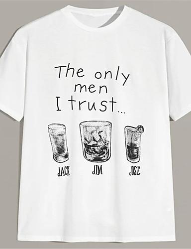 economico T-shirt a stampa-Per uomo Unisex maglietta Stampa a caldo Alfabetico Taglie forti Con stampe Manica corta Casuale Top 100% cotone Casuale Di tendenza Bianco