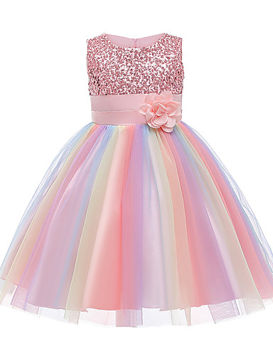 cheap Girls' Clothing-Kids Little Girls' Dress Rainbow Flower Party Tutu Dresses Sequins Pleated Bow Blue Purple Blushing Pink Knee-length Sleeveless Active Cute Dresses Easter 2-12 Years