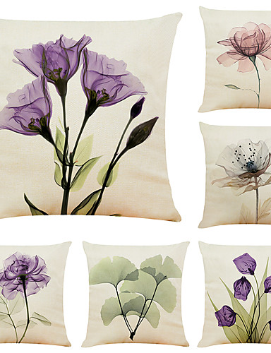 cheap Home & Garden-6 pcs Linen Pillow Cover, Floral&Plants Simple Modern Square Zipper Traditional Classic