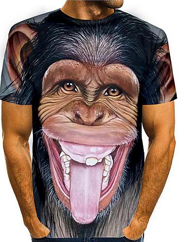 abordables Vêtements Homme-Homme T-Shirts T-shirt Impression 3D Imprimés Photos Orang-outan Animal Imprimé Manches Courtes Quotidien Hauts basique Simple Noir Bleu Grise