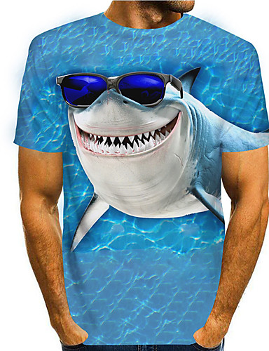 cheap Men's Clothing-Men's Tees T shirt 3D Print Graphic Prints Shark Animal Print Short Sleeve Daily Tops Casual Designer Big and Tall Blue