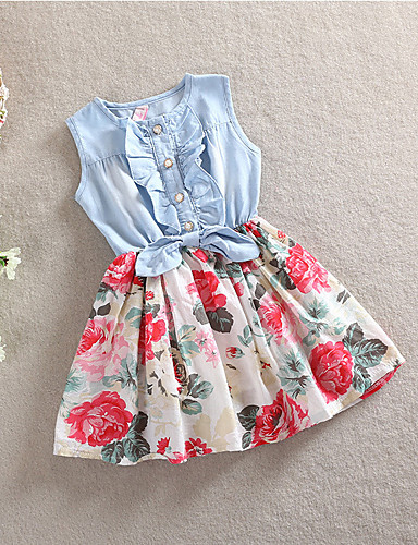 cheap Girls' Clothing-Kids Toddler Little Girls' Dress Floral Sundress Daily Holiday Bow White Red Sleeveless Active Cute Dresses Summer Regular Fit 2-12 Years