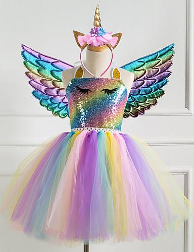 cheap Girls' Clothing-Kids Little Girls' Dress Unicorn Rainbow Colorful Party Tutu Dresses Birthday Sequins Halter Purple Gold Silver Princess Cute Dresses 2-8 Years
