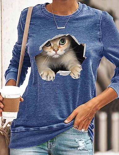 billige Dameklær-Dame T skjorte Katt Grafisk 3D Langermet Trykt mønster Rund hals Topper Grunnleggende Grunnleggende topp Svart Blå Gul