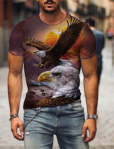cheap Men's Clothing-Men's T shirt 3D Print Graphic Print Short Sleeve Party Tops Exaggerated Blue Yellow Light Brown