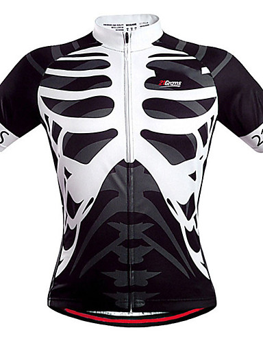 cheap Sports & Outdoors-21Grams Men's Short Sleeve Cycling Jersey Spandex Black+White Skull Bike Jersey Mountain Bike MTB Road Bike Cycling Sports Clothing Apparel / Stretchy / Athleisure