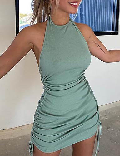 L9WEI Vestidos sin Mangas Camisola Mini Vestidos Color s/ólido Una l/ínea Vestido de Verano Elegante Vestido Delgado Mujeres Vestidos Cortos de Verano Ropa de Calle