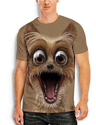 cheap Men's Clothing-Men's Tees T shirt 3D Print Graphic Prints Animal Print Short Sleeve Daily Tops Casual Designer Big and Tall Brown