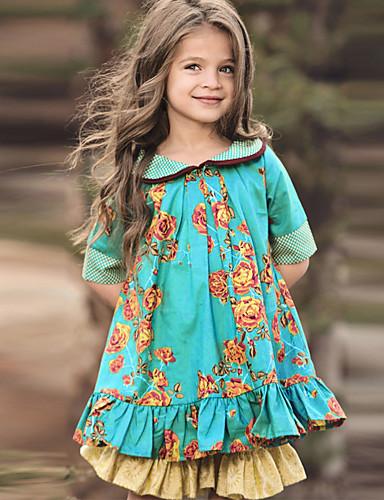 cheap Girls' Clothing-Kids Little Girls' Dress Floral Green Knee-length Half Sleeve Cute Dresses Regular Fit