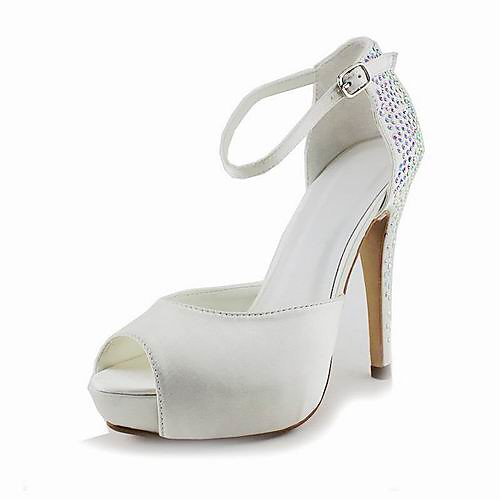 Satin Stiletto Heel Peep Toe / Pumps With Rhinestone Wedding Shoes (More Colors Available) 2018 - US $39.99