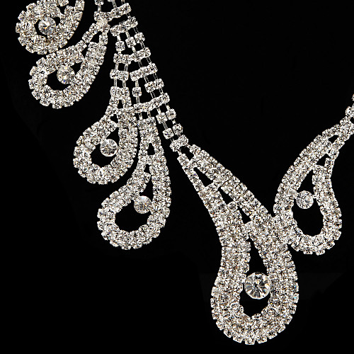 Gorgeous Rhinestones Wedding Bridal Necklace, Earrings Jewelry Set 2018 - US $10.99