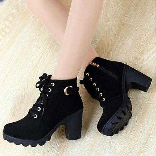 747f7b8844d Women's Shoes Faux Suede Fall / Winter Chunky Heel 5.08-10.16 cm / Booties  / Ankle Boots Buckle / Zipper / Lace-up Black / Yellow / Green