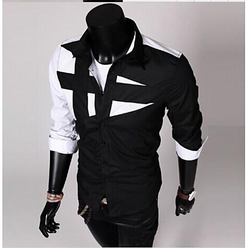 Men's Color Block Shirt Patchwork Long Sleeve Daily Slim Tops Spread Collar ArmyGreen. White Black / Spring / Fall