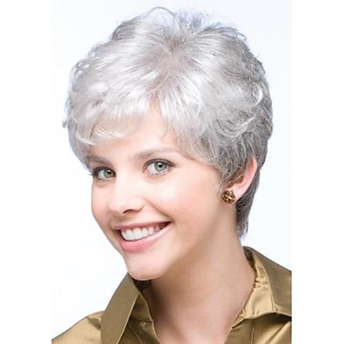 Fashionable Women S Wig Glueless Short Curly Silver Grey