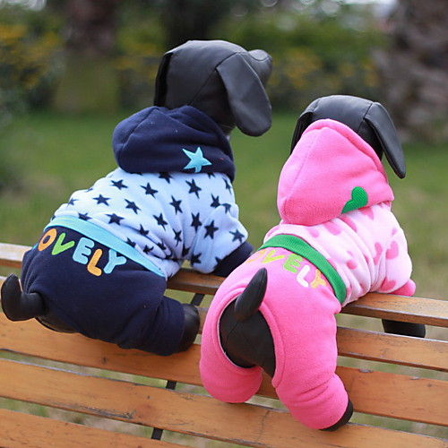 Dog Hoodie Puppy Clothes Heart Stars Fashion Waterproof Winter Dog Clothes Puppy Clothes Dog Outfits Blue Pink Costume for Girl and Boy Dog Cotton XS S M L