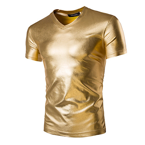Men's T shirt Solid Colored Short Sleeve Daily Tops Basic Exaggerated Black Gold Silver