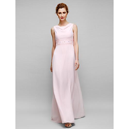 Sheath / Column Mother of the Bride Dress Elegant Cowl Neck Floor Length Chiffon Sleeveless with Beading 2021