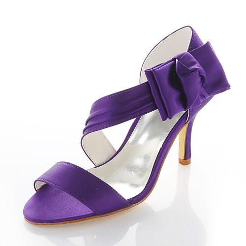 Purple Wedding Heel.Women S Stiletto Heel Satin Flower Elastic Fabric Spring Summer Purple Wedding Party Evening Eu41