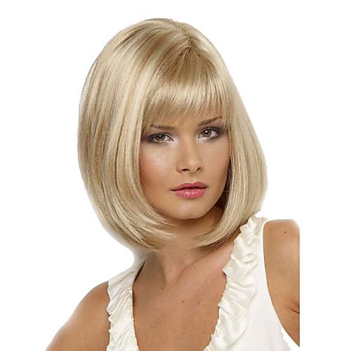 Peruci Sintetice Drept Blond Tunsoare Bob Cu Breton Păr Sintetic
