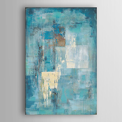 Hand Painted Abstract Paintings Canvas Art Minimalist Painting Turquoise Blue Abstract Acrylic Painting Modern Art Industrial Textured Art