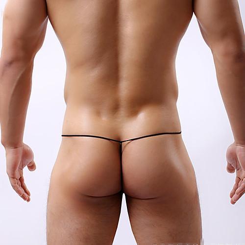 Men's G-string Underwear Color Block Low Waist White Black Yellow M L XL