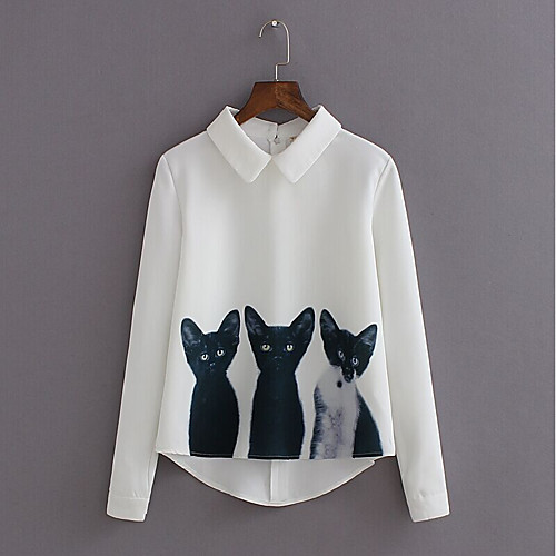 Women's Shirt Animal Long Sleeve Daily Tops White