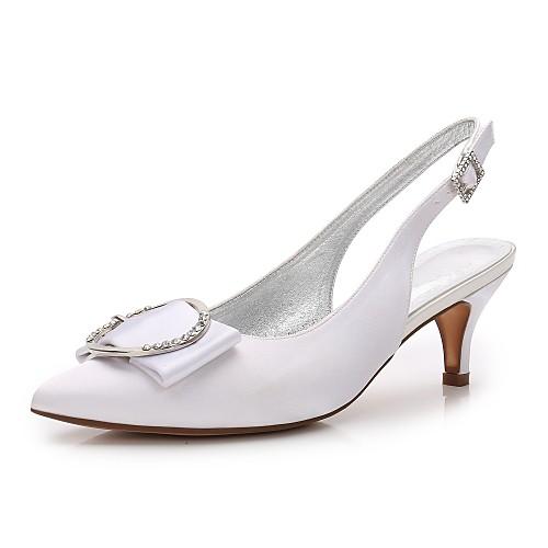 a79921967f6 Women s Satin Spring   Summer Comfort   Basic Pump   Ankle Strap Wedding  Shoes Kitten Heel   Cone Heel   Low Heel Pointed Toe Rhinestone   Bowknot    Satin ...