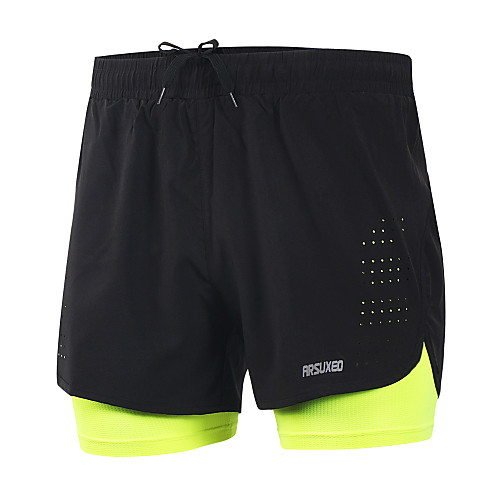 Arsuxeo Men's Running Shorts Athletic 2 in 1 with Liner Mesh Spandex Sport Shorts Running Marathon Basketball Football / Soccer Active Training Gym Workout Lightweight Quick Dry Reflective Strips