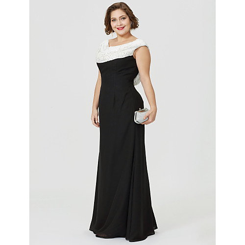 Sheath / Column Mother of the Bride Dress Classic & Timeless Elegant & Luxurious Color Block Cowl Neck Floor Length Chiffon Sleeveless with Ruched Beading 2021