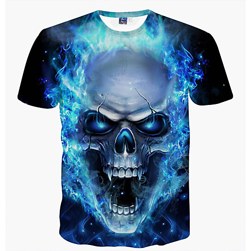 Men's Daily T-shirt Graphic Skull Print Short Sleeve Tops Basic Round Neck Blue / Summer / Club