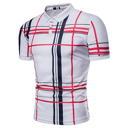 Men's Plus Size Polo Striped Plaid Print Short Sleeve Tops Basic Shirt Collar White Navy Blue Gray / Summer