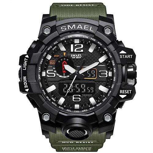 SMAEL Men's Sport Watch Military Watch Wrist Watch Japanese Quartz Charm Water Resistant / Waterproof Quilted PU Leather Black / Blue / Red LED Analog - Digital - Black / Gold Black / Blue Black