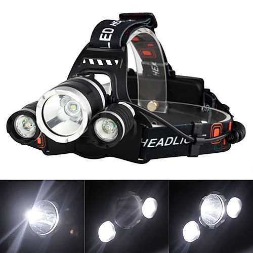Headlamps Headlight Rechargeable 3000 lm LED 3 Emitters 4 Mode with Batteries and Charger Rechargeable Strike Bezel Camping / Hiking / Caving Traveling EU Plug AU Plug UK Plug US Plug Black