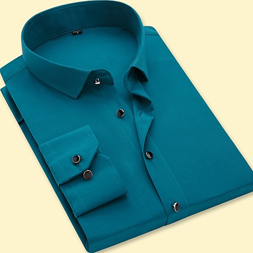 Men's Solid Colored Shirt Business Basic Party Daily Work Blue / Army Green / Fuchsia / Lavender / Light Blue / Long Sleeve