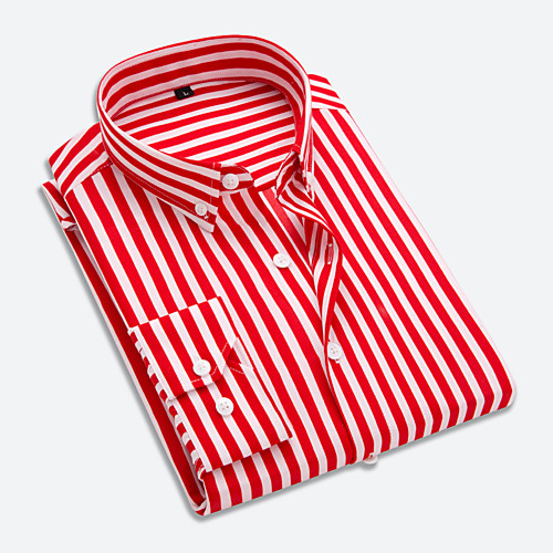 Men's Striped Blue & White Patchwork Shirt Business Basic Daily Work Button Down Collar White / Red / Navy Blue / Light Blue / Long Sleeve