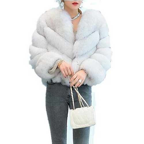 Women's Daily Basic Fall & Winter Short Fur Coat, Solid Colored Round Neck Long Sleeve Faux Fur Purple / Wine / Light gray