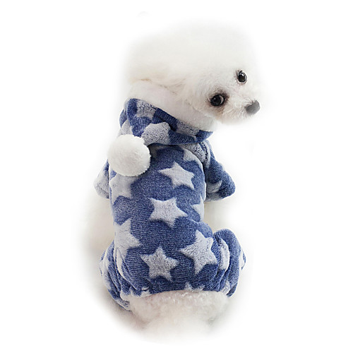 Dog Hoodie Puppy Clothes Solid Colored Cartoon Stars Sweet Style Keep Warm Winter Dog Clothes Puppy Clothes Dog Outfits Warm Blue Pink Dark Blue Costume for Girl and Boy Dog Cotton S M L XL XXL