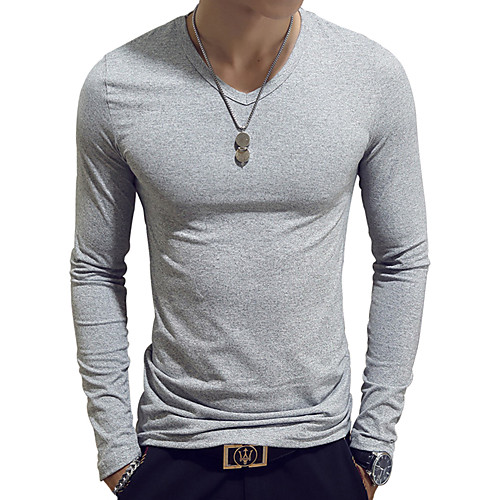 Men's T shirt Graphic Solid Colored Plus Size Long Sleeve Daily Tops Cotton Basic White Black Wine