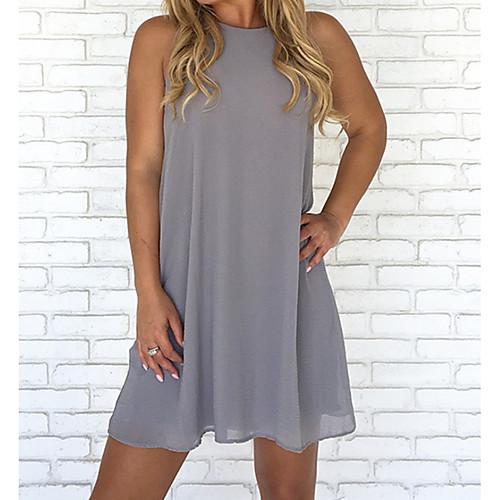 Women's Shift Dress Short Mini Dress White Black Blue Wine Green Brown Gray Sleeveless Solid Colored Fall Spring & Summer Round Neck Basic Hot 2021 S M L XL XXL 3XL 4XL 5XL / Plus Size