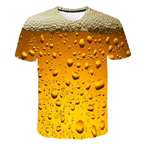 Men's Graphic Beer T shirt 3D Print Print Short Sleeve Daily Tops Basic Streetwear Purple Red Yellow
