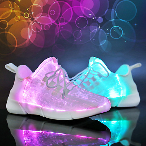 Light up Sneakers LED Shoes USB Charging Luminous Fiber Optic Shoes Mesh Elastic Fabric For Boys Girls Kids Adults Outdoor Lace-up Hook & Loop LED White Black Pink Spring & Summer