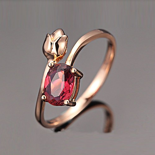 Ring Cubic Zirconia Solitaire Rose Gold Brass Rose Gold Plated Imitation Diamond Flower Love Elegant French 1pc 6 7 8 9 10 / Women's